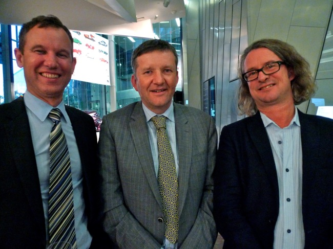 Don Herron, NGV Deputy Director Andrew Clarke and Max Delaney