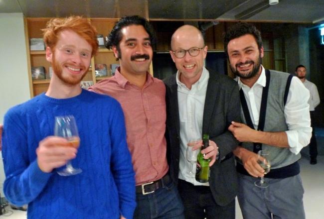 Jimmy, Leuli, Curator Lars Bang Larsen and Artspace NZ Director Adnan Yildiz