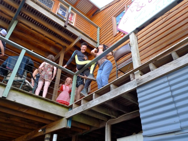 Lainey and Leisa below Bruzzy's secret balcony