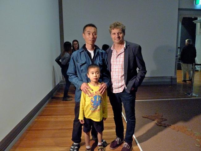 Artist Yutaka Kobayashi with son and Guy Abrahams