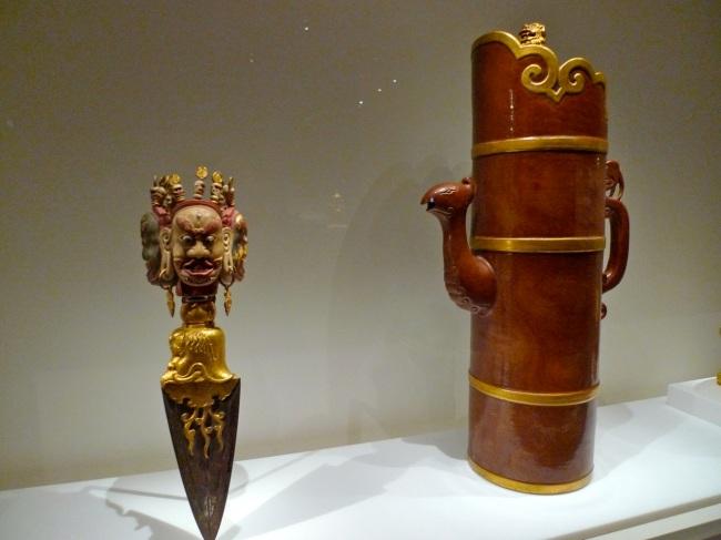 Tibetan Buddhist ritual dagger and Tibetan-style ewer
