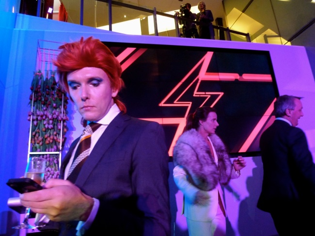 David Bowie fan, Rachel Griffith, Martin Foley and a camera crew