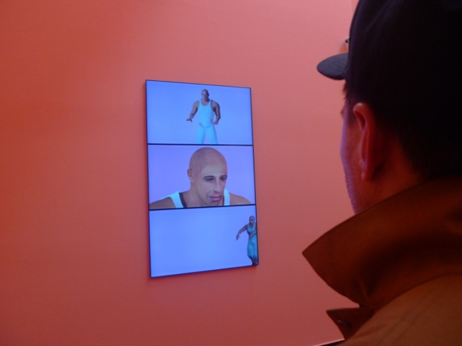 A dude checking out a dude triptych