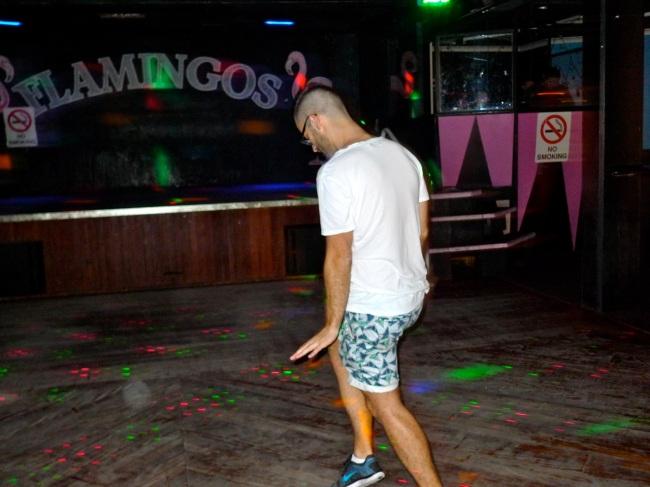 Felix carves up the dancefloor at Flamingo's