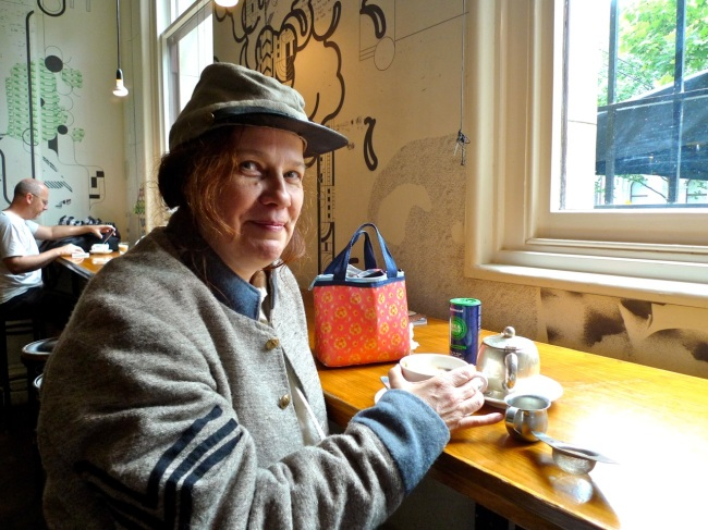 WAR supporter Dr Juliette Peers has a cuppa