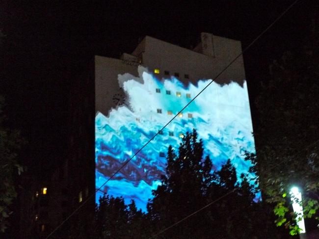Chase Burns' White Wash projection about rising sea levels