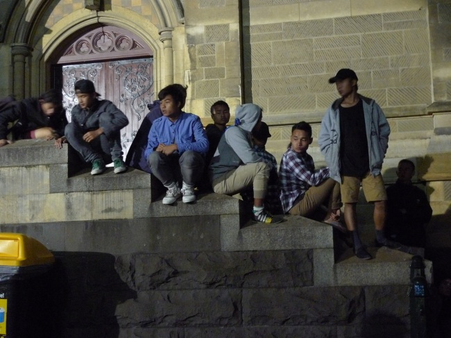 Hangin' on the church steps