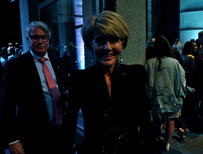 Julie Bishop in mood lighting