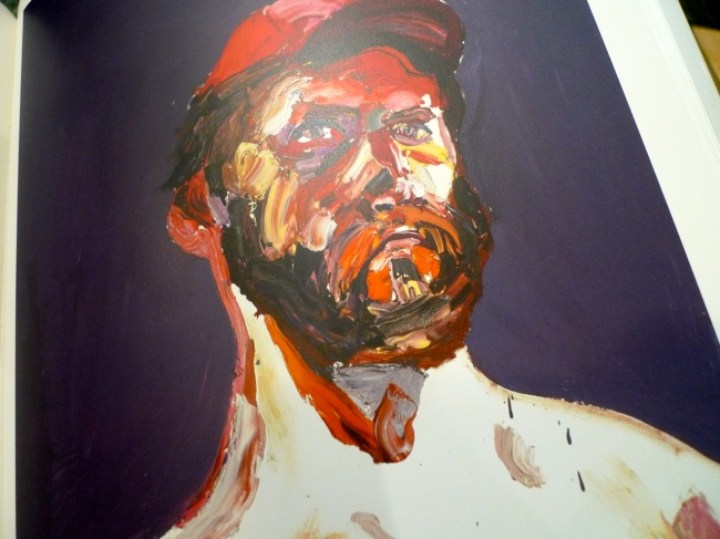 Self-portrait, after Afghanistan, with beard and a red cap, 2012